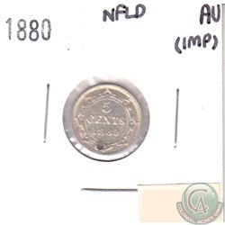 1880 Canada NFLD 5-cents AU-50 (impaired, view image)