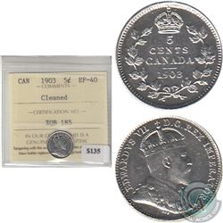 1903 Canada 5-cent ICCS Certified EF-40 lightly cleaned