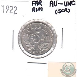 1922 Canada 5-cents Far Rim AU-UNC (scratched)