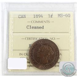 1894 Canada 1-cent ICCS Certified MS-60 lightly cleaned