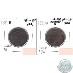 1881H Canada 1-cent VF-EF (scratched) & 1881H Canada Triple Punch N 1-cent VF-EF (scratched) 2pcs