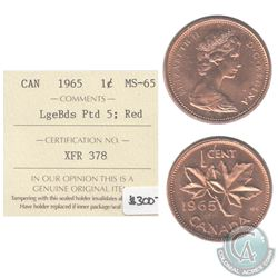 1965 Canada 1-cent LgeBds Ptd 5 ICCS Certified MS-65 Red