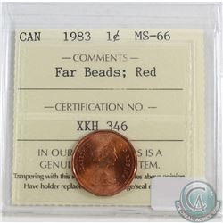 1983 Canada 1-cent Far Beads ICCS Certified MS-66 Red