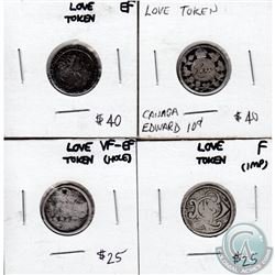 Group Lot of 4 Love Tokens on Canadian Silver 10-cent. 4pcs.