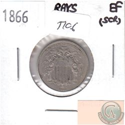 1866 USA Rays 5-cents EF (Scratched)
