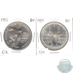 1983D USA Olympics Brilliant Uncirculated (MS-62 to MS-64) Silver Dollar (toned) & 1984S USA Olympic