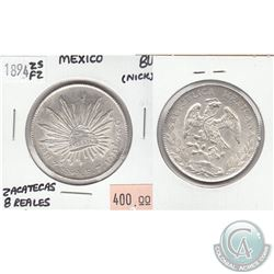 1894 ZSFZ Mexico 8-Reales Zacatecas Brilliant Uncirculated (MS-62 to MS-64) Condition (nick)