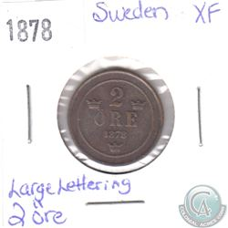 1878 Sweden Large Lettering 2 Ore Extra Fine