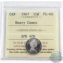 1967 Canada 10-cent ICCS Certified PL-66 Heavy Cameo