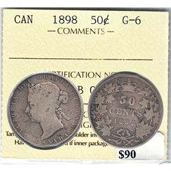1898 Canada 50-cent ICCS Certified G-6