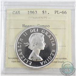 1963 Canada Dollar ICCS Certified PL-66 Heavy Cameo