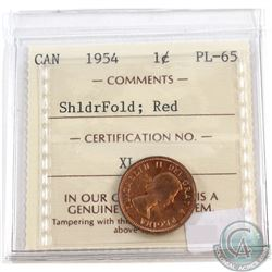1954 Canada 1-cent SF ICCS Certified PL-65 Red
