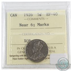 1926 Canada 5-cents Near 6 ICCS Certified EF-40 (Marks)