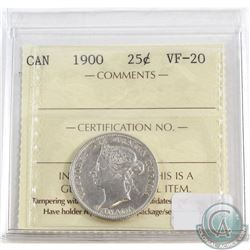 1900 Canada 25-cent ICCS Certified VF-20