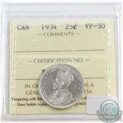 1934 Canada 25-cent ICCS Certified VF-30