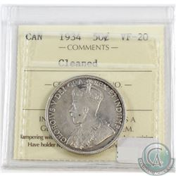 1934 Canada 50-cent ICCS Certified VF-20 (lightly cleaned)