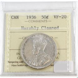 1936 Canada 50-cent ICCS Certified VF-20 (Harshly cleaned)