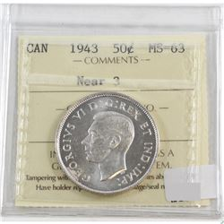 1943 Canada 50-cents Near 3 ICCS Certified MS-63