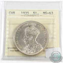 1935 Canada Silver $1 ICCS Certified MS-63