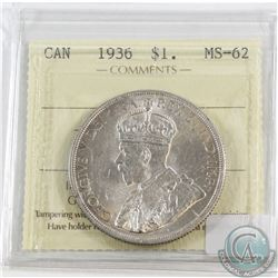 1936 Canada Silver $1 ICCS Certified MS-62