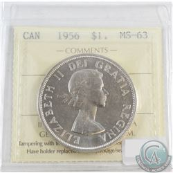 1956 Canada Silver Dollar ICCS Certified MS-63