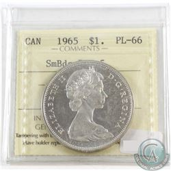 1965 Canada Silver $1 Small Beads Pointed 5 ICCS Certified PL-66