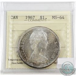 1967 Canada Silver $1 ICCS Certified MS-64