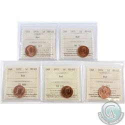 Lot of 5x 1970-1974 Canada 1-cent ICCS Certified MS-65 Red. 5pcs