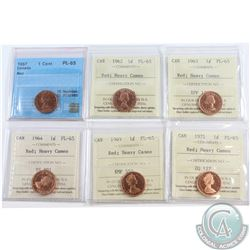 Lot of 6x Canada 1-cent ICCS Certified PL-65, Dated 1957, 1962, 1963, 1964, 1969 & 1971 (all Heavy C