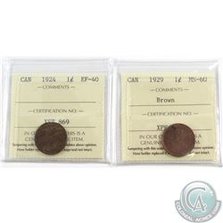 1924 Canada 1-cent ICCS Certified EF-40 & 1929 ICCS MS-60 Brown. 2pcs