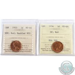 Lot of 2x Canada 1-cent ICCS Certified MS-64 Dated 1953 NSF Doubled 953 & 1954 SF. 2pcs