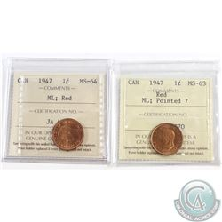 Lot of 2x 1947 Canada 1-cent Maple Leaf ICCS Certified Coins. You will receive MS-64 Blunt 7 & MS-63