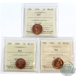 Lot of 3x Canada 1-cent ICCS Certified MS-65 Dated 1958, 1960 & 1961. 3pcs