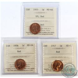 Lot of 3x Canada 1-cent ICCS Certified Coins. You will receive 1955 SF MS-64, 1956 MS-64 & 1957 MS-6