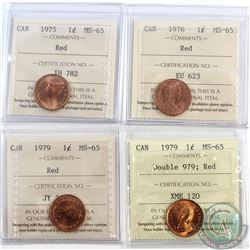 Lot of 4x Canada 1-cent ICCS Certified MS-65 Dated 1975, 1976, 1979 & 1979 Double 979. 4pcs