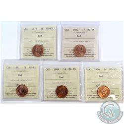 Lot of 5x Canada 1-cent ICCS Certified MS-65 Dated 1979, 1980, 1981, 1988 & 1996. 5pcs