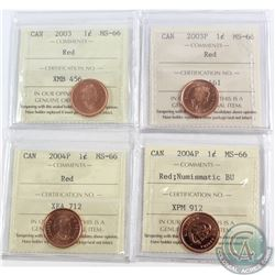 Lot of 4x Canada 1-cent ICCS Certified MS-66 Dated 2003 Old Effigy, 2003P Old Effigy, 2004P & 2004P