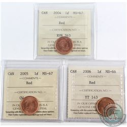 Lot of 3x Canada 1-cent ICCS Certified 2004 MS-67, 2005 MS-67 & 2006 MS-66. 3pcs