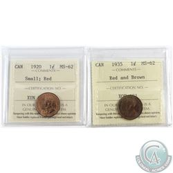1920 Small & 1935 R&B Canada 1-cent ICCS Certified MS-62. 2pcs