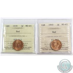 1939 & 1940 Canada 1-cent ICCS Certified MS-65 Red. 2pcs