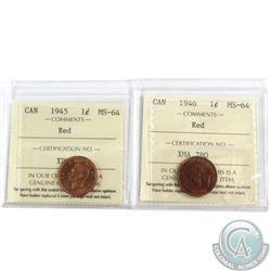 1945 & 1946 Canada 1-cent ICCS Certified MS-64 Red. 2pcs