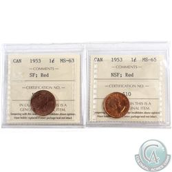Lot of 2x 1953 Canada 1-cent ICCS Certified; SF MS-63 & NSF MS-65. 2pcs