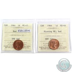 2x 1964 Canada 1-cent Variety ICCS Certified; Missing MG MS-64 & Extra Spine MS-63. 2pcs