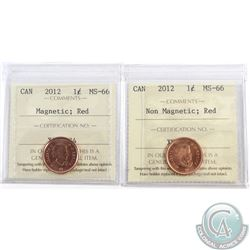 2012 Canada 1-cent Magnetic & Non-Magnetic ICCS Certified MS-66 Red. 2pcs