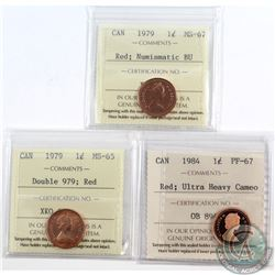 Lot of 3x Canada 1-cent ICCS Certified Coins Dated 1979 MS-67 Numismatic Brilliant Uncirculated (MS-