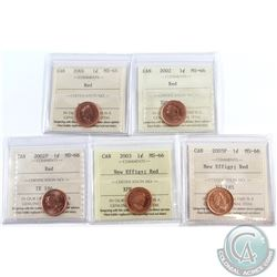 2001, 2002, 2002P, 2003 New Effigy & 2003P New Effigy Canada 1-cent ICCS Certified MS-66 Red. 5pcs