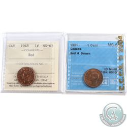1945 Canada 1-cent ICCS Certified MS-63 Red & 1951 MS-64 Red and Brown. 2pcs