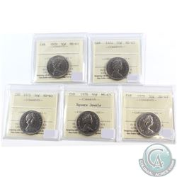 1970, 1971, 1975, 1978 Square Jewels & 1979 Canada 50-cent ICCS Certified MS-63. 5pcs