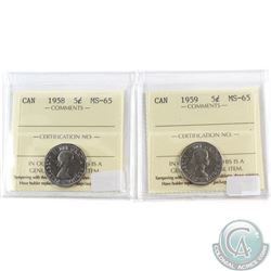 1958 & 1959 Canada 5-cent ICCS Certified MS-65. 2pcs
