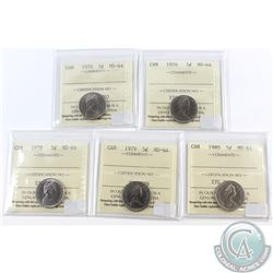 Lot of 5x Canada 5-cent ICCS Certified MS-64; 1970, 1976, 1978, 1979 & 1980. 5pcs